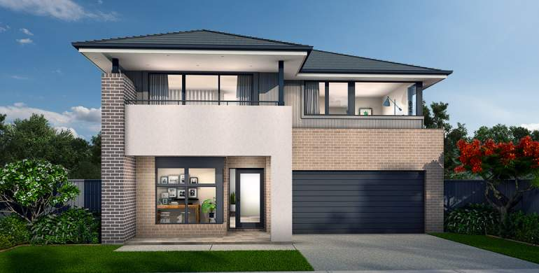 Chevron Double Storey House Design- Drift Facade