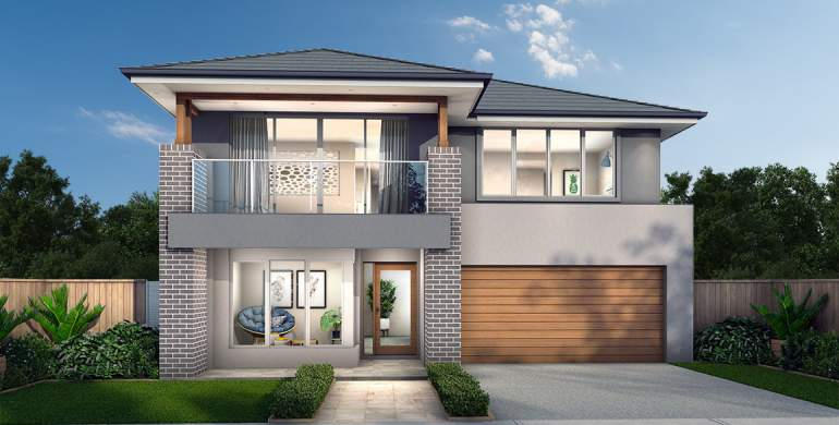 Chevron Double Storey House Design-Grande Facade