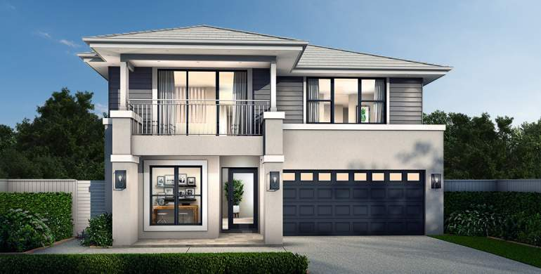 Chevron Double Storey House Design- Hamptons Facade
