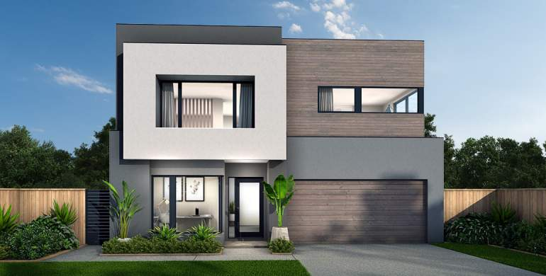 Chevron Double Storey House Design- Luxe Facade