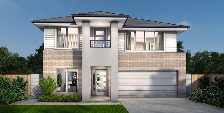 Chevron Double Storey House Design- Modern with Balcony Facade