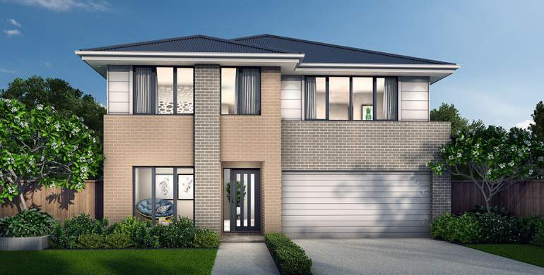 Chevron Double Storey House Design- Newport Facade