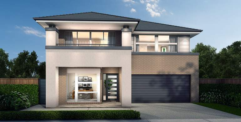 Chevron Double Storey House Design- Plush Facade