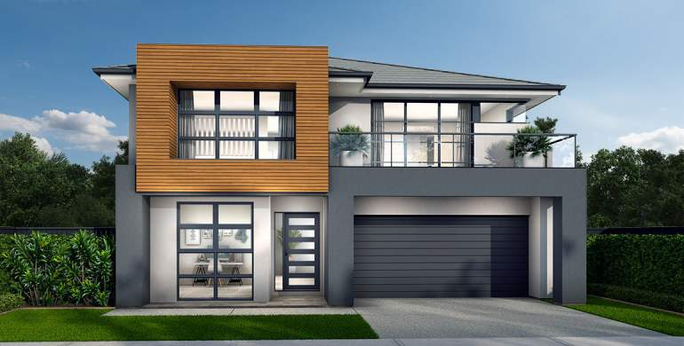 Chevron Double Storey House Design- Sheike Facade