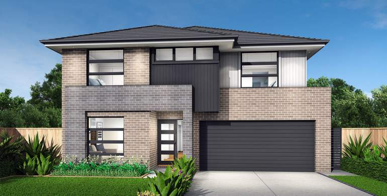 Clovelly Double Storey House Design- Crest Facade