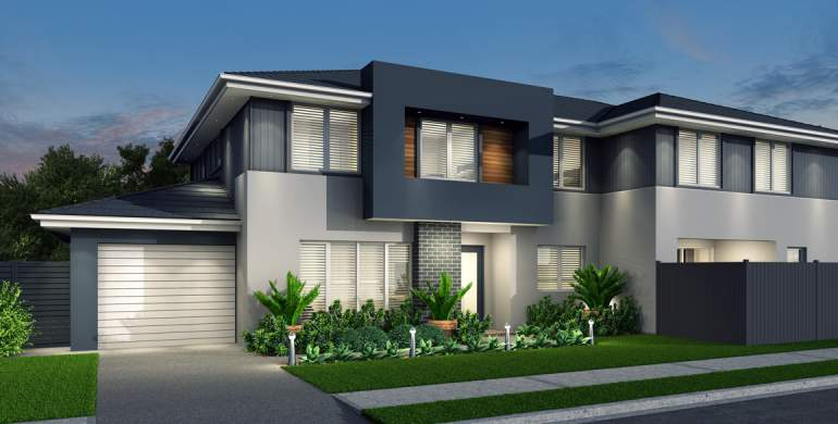 Hickson-Duplex house plan-Contemporary facade
