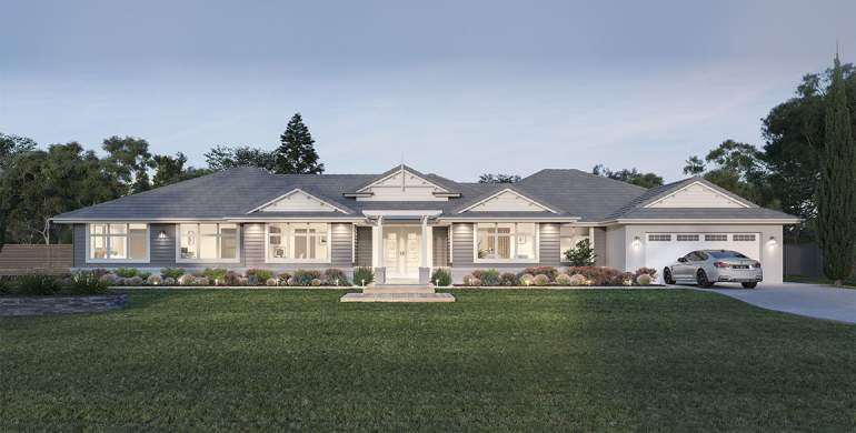 Locksley 41-Acreage House Design-Hampton facade