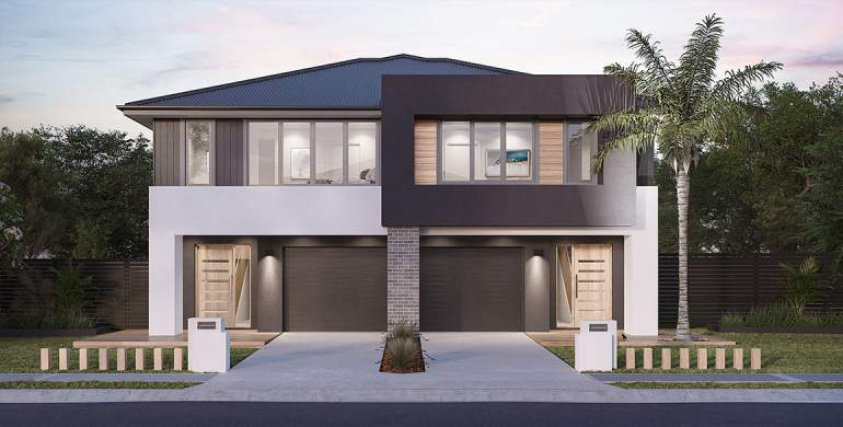 Richmond-Duplex house plan-Contemporary facade