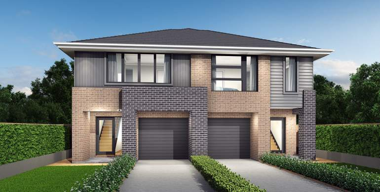 Richmond-Duplex house plan-Modern facade