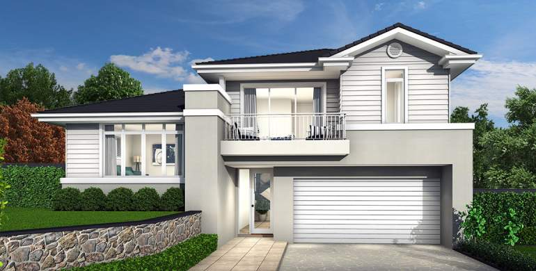 Trilogy Double Storey House Design-Hamptons Facade