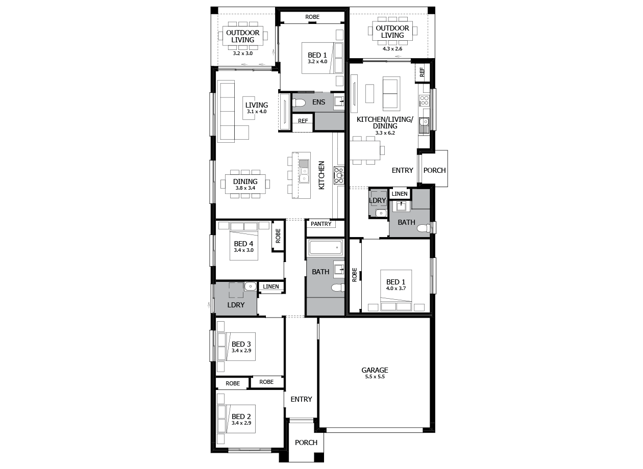 Sussex 23-Dual Living House Plan