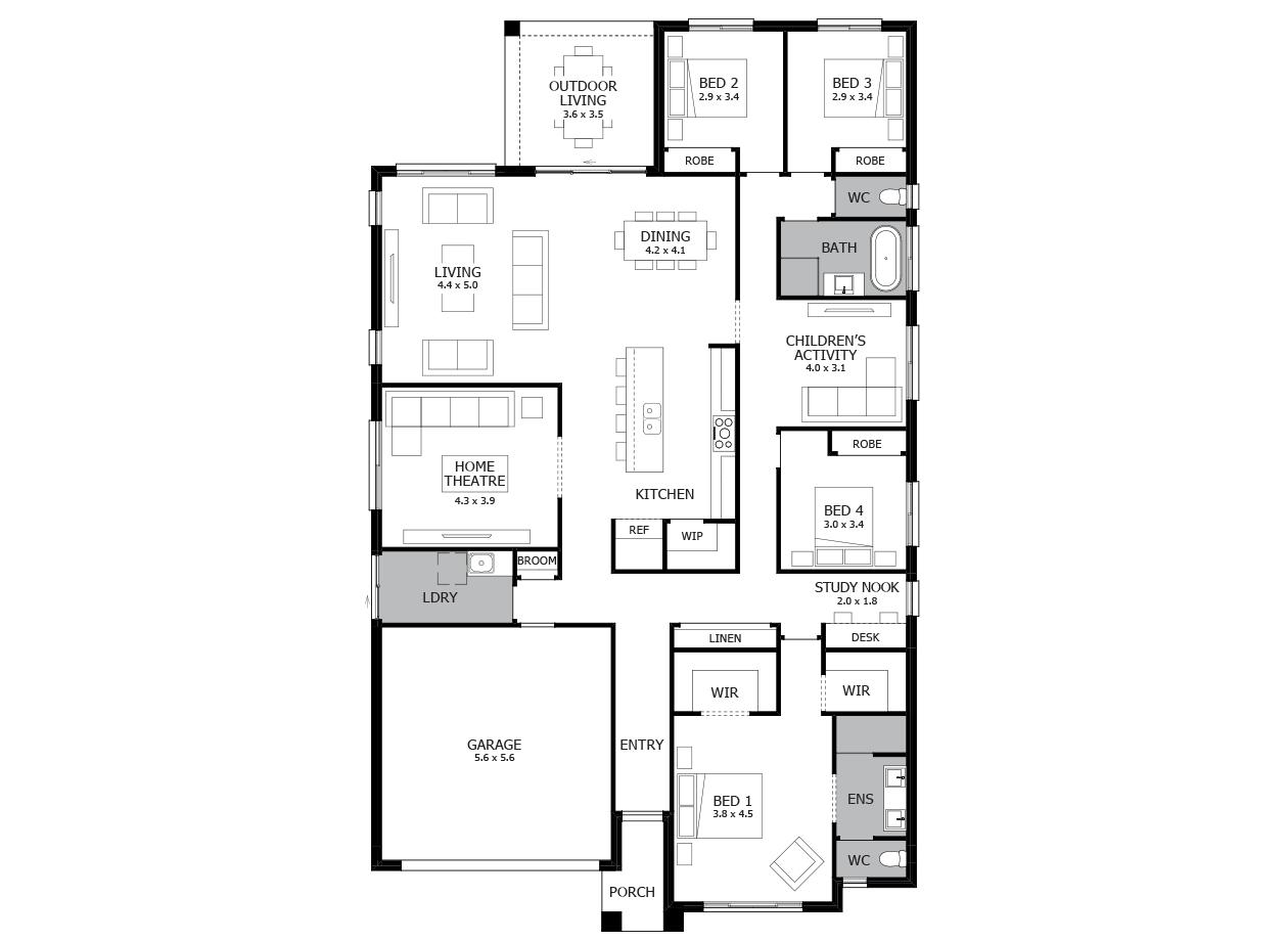 Symphony 29-Single Storey house design-4 Bedroom-LHS