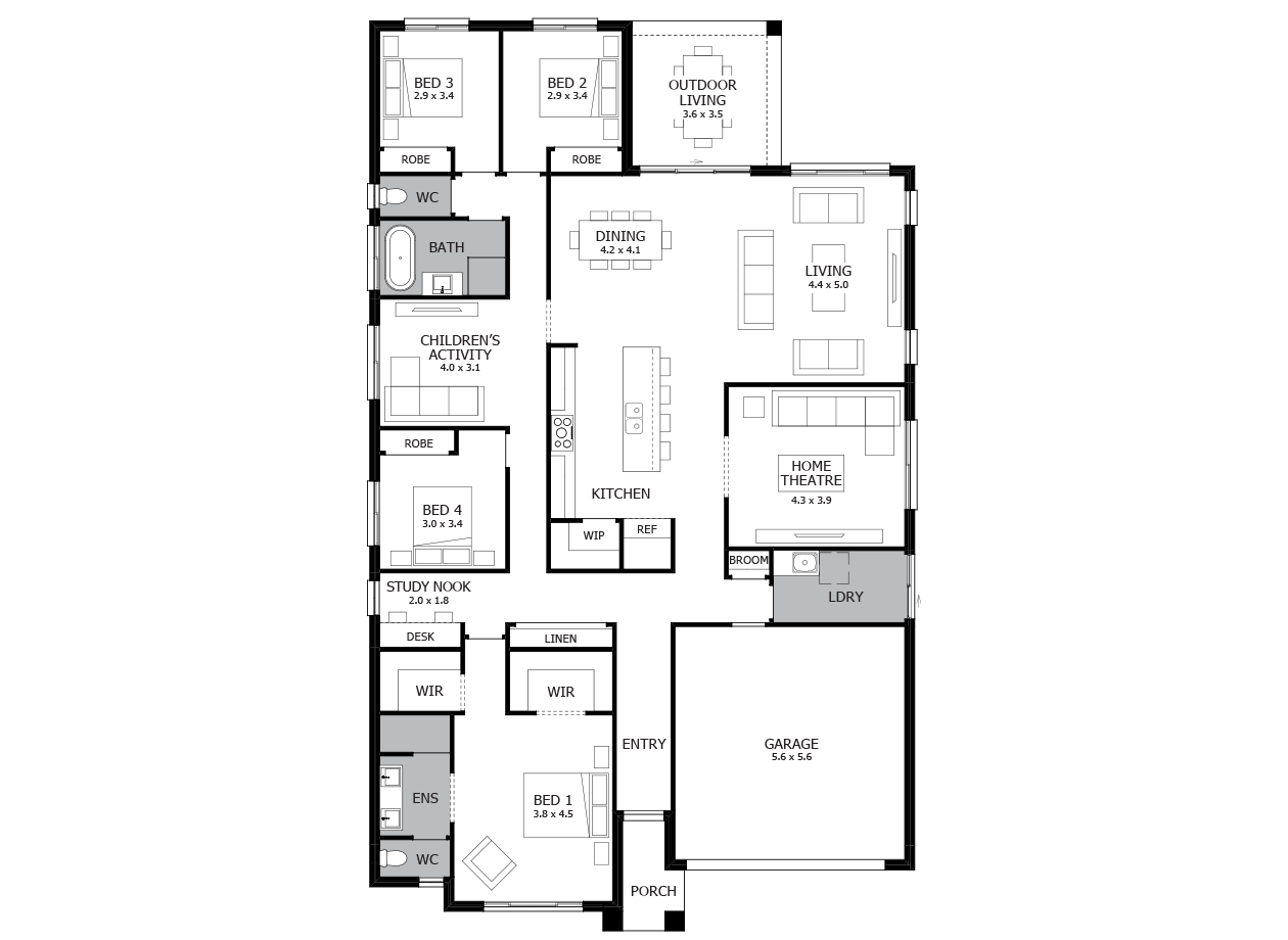 Symphony 29-Single Storey house design-4 Bedroom-RHS