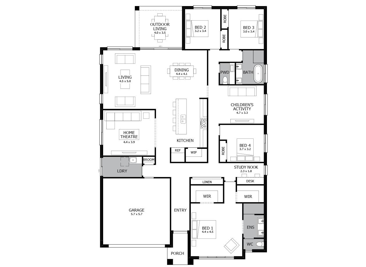 Symphony 31-Single Storey house design-4 Bedroom-LHS