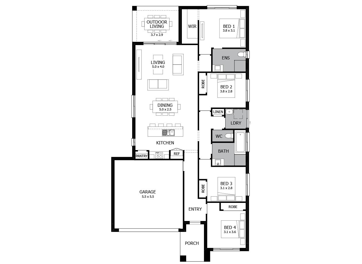 Tango 20-Single Storey house design-4 Bedroom-LHS