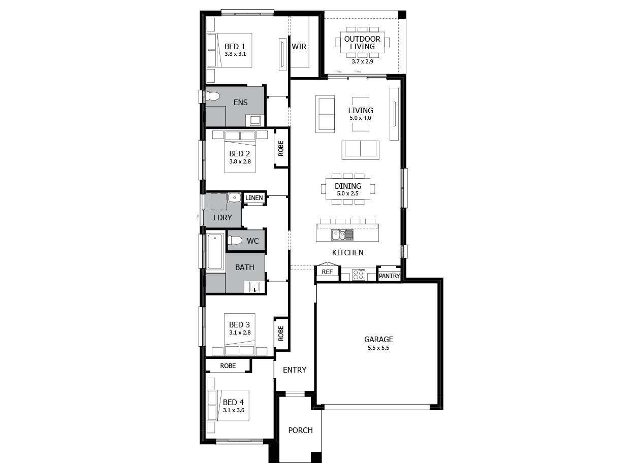 Tango 20-Single Storey house design-4 Bedroom-RHS