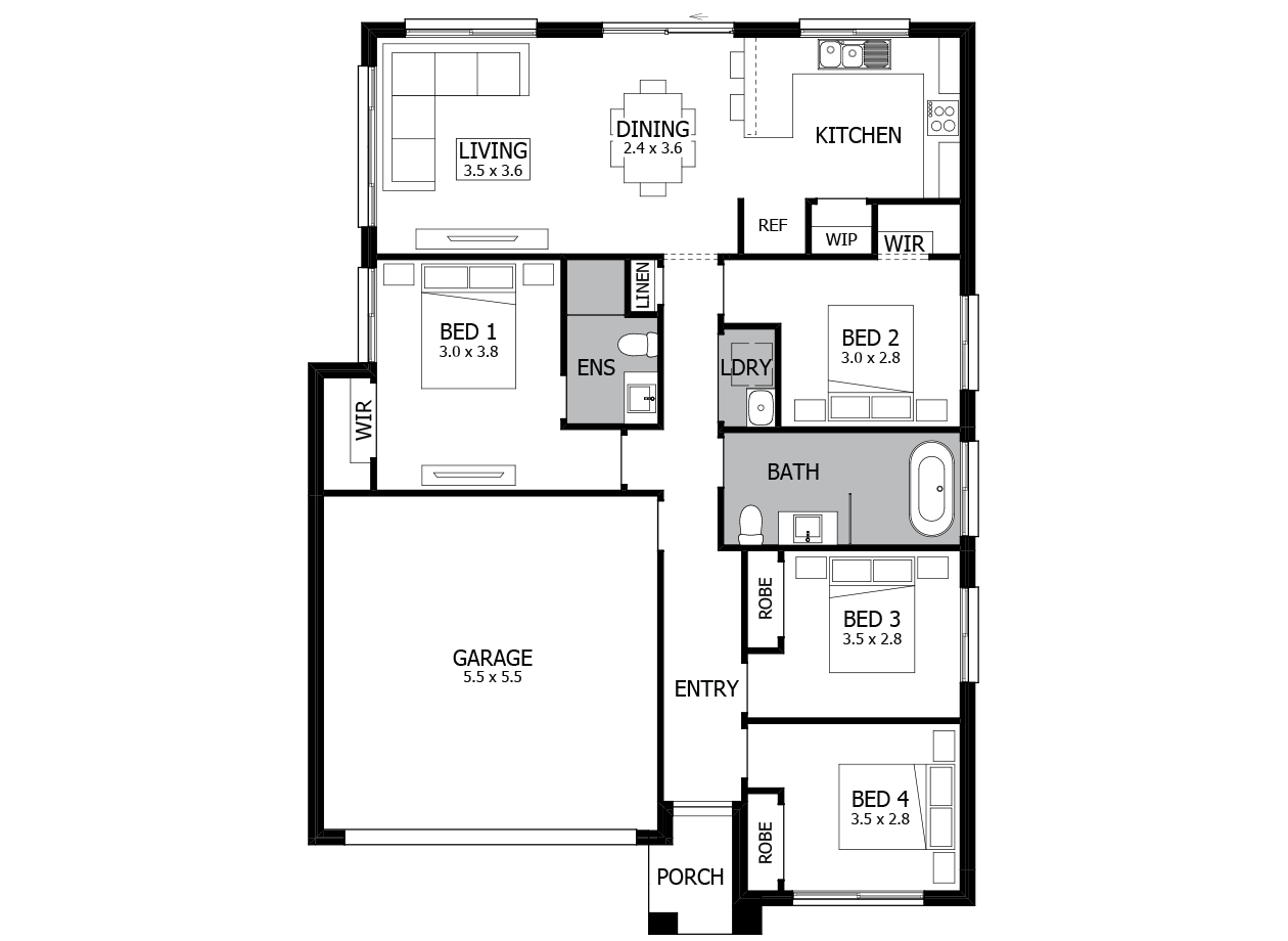 Terrigal 16-Single Storey house design-4 Bedroom-LHS