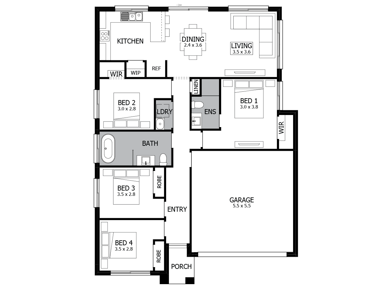 Terrigal 16-Single Storey house design-4 Bedroom-RHS