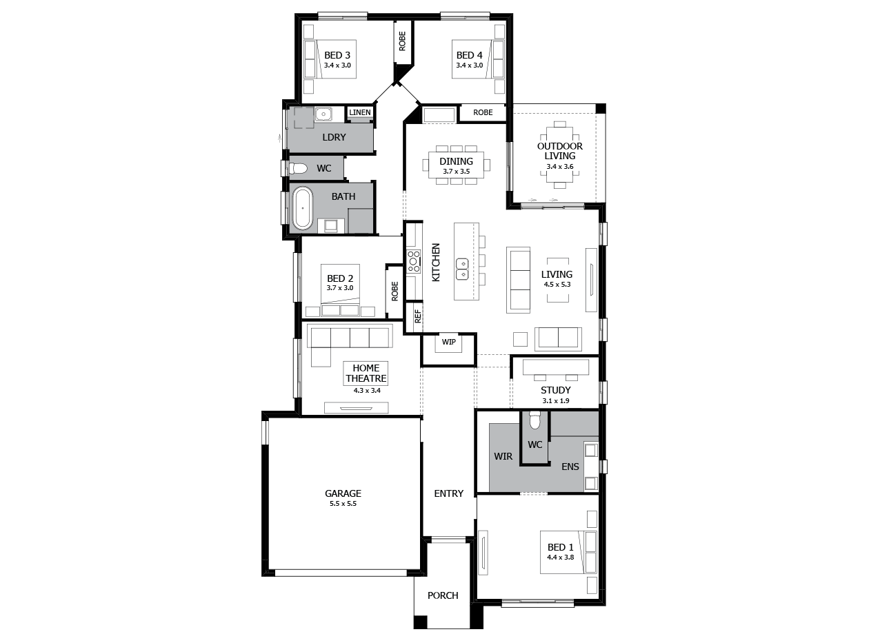 Verve 25-Single Storey house design-4 Bedroom-LHS
