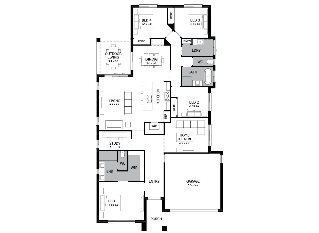 Verve 25-Single Storey house design-4 Bedroom-RHS