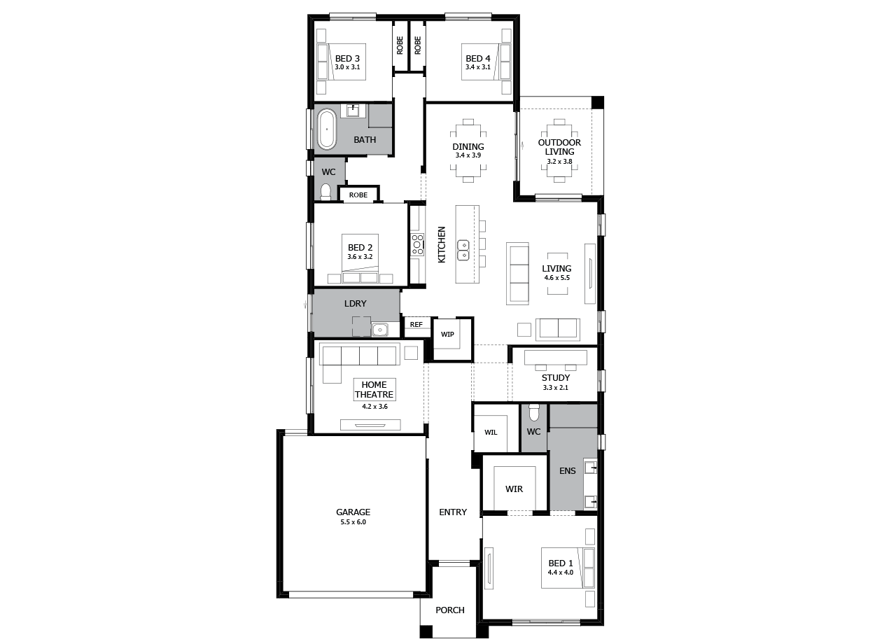 Verve 28-Single Storey house design-4 Bedroom-LHS