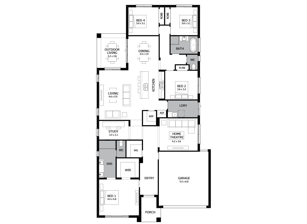 Verve 28-Single Storey house design-4 Bedroom-RHS