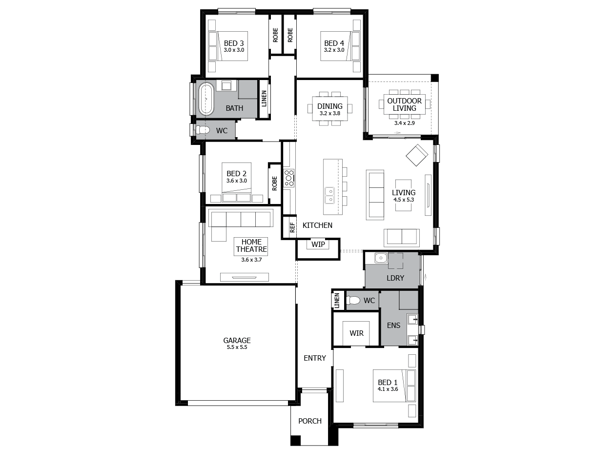 Vibe 23-Single Storey house design-4 Bedroom-LHS