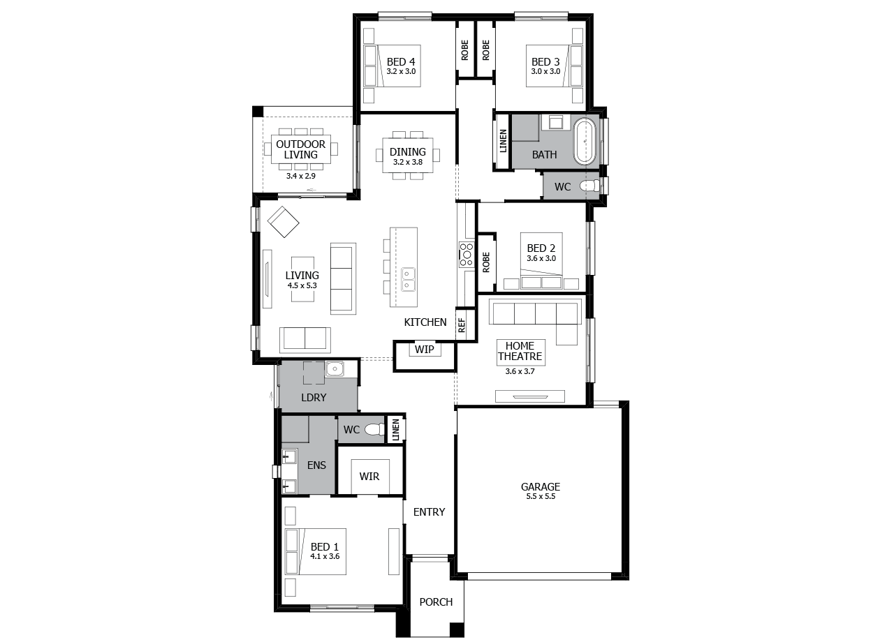 Vibe 23-Single Storey house design-4 Bedroom-RHS