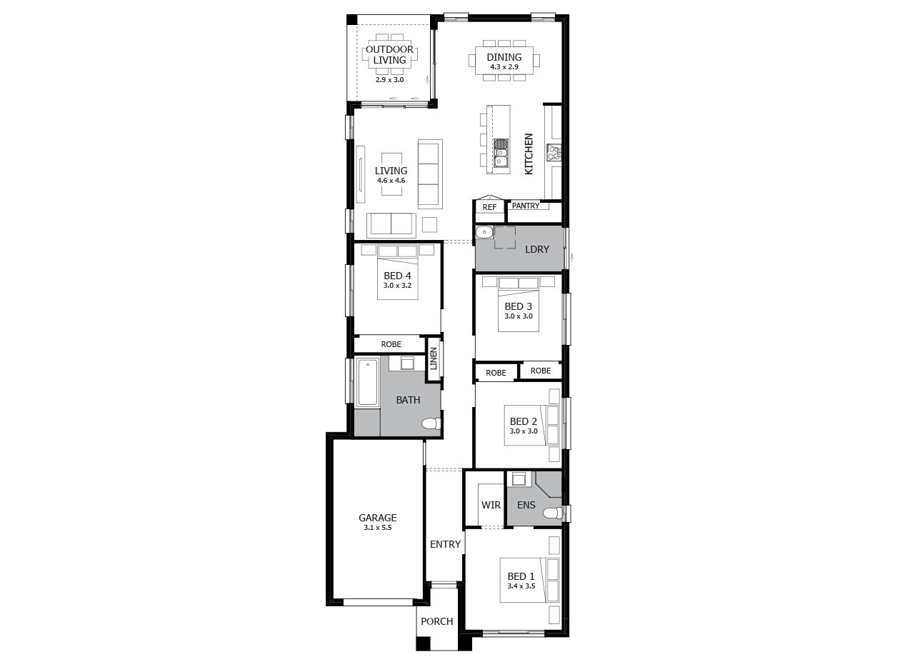 Vogue 18-Single Storey house design-4 Bedroom-LHS