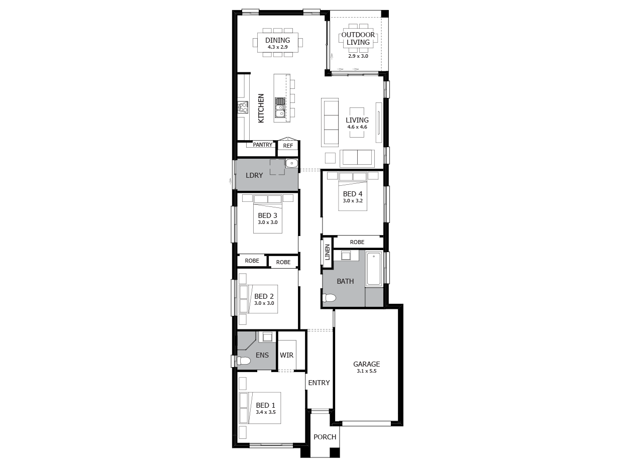 Vogue 18-Single Storey house design-4 Bedroom-RHS