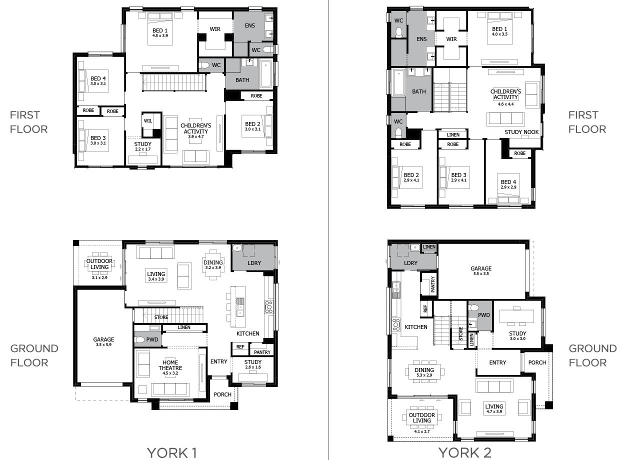 York-Duplex house plan